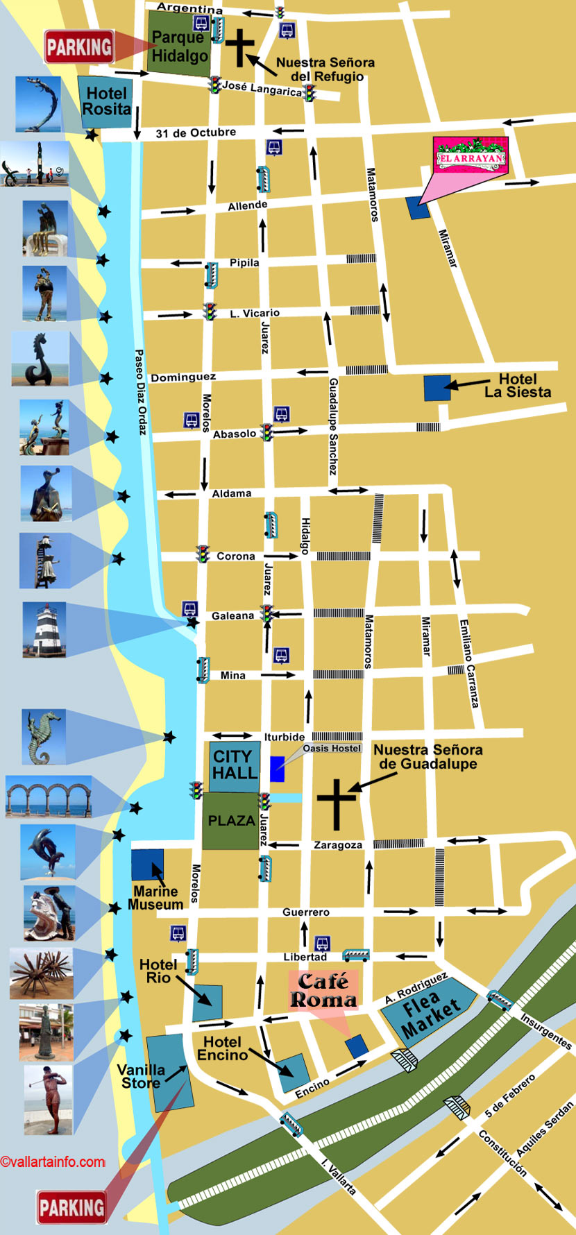 Map Puerto Vallarta Map of Puerto Vallarta Downtown   Vallarta Info